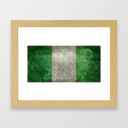 National flag of Nigeria, Vintage textured version Framed Art Print