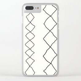 Moroccan Diamond Stripe in Black and White Clear iPhone Case