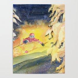 Skiing Art Poster