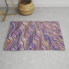 tia - abstract wave design in cool tones champagne pink blue mauve purple Rug
