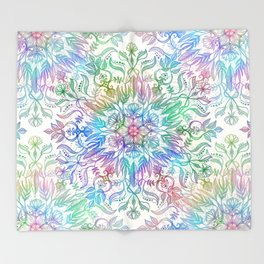 Nature Mandala in Rainbow Hues Throw Blanket