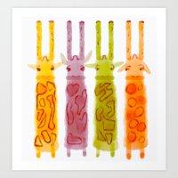 Giraffriends Art Print