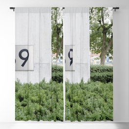House 169 sign and green shrub Blackout Curtain