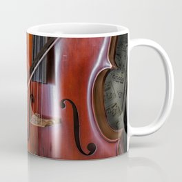 Cello with Bow a Stringed Instrument with Classical Sheet Music Coffee Mug