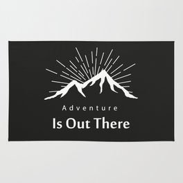 Adventure Is Out There Mountain print, Black & White Rug