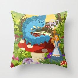 alice in wonderland and smoking caterpillar Throw Pillow