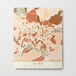 TAIPEI TAIWAN CITY MAP EARTH TONES Metal Print