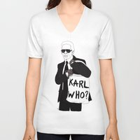 karl V-neck T-shirts featuring Karl by Les Gutiérrez