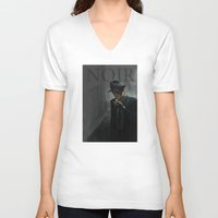 noir V-neck T-shirts featuring Noir by Abel Fdez