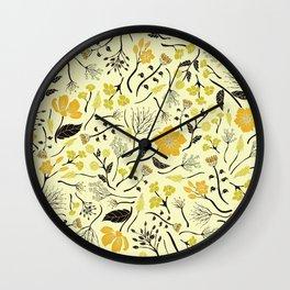 Yellow, Green & Black Floral/Botanical Pattern Wall Clock