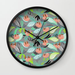 Bright jungle sloths Wall Clock