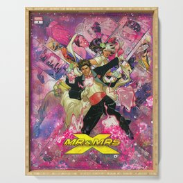 Xmen Wedding Mr. and Mrs. X Comic Art Collage Gambit and Rogue Serving Tray