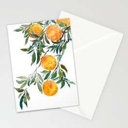 orange watercolor Stationery Cards