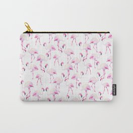 Tropical elegant watercolor pink flamingo bird Carry-All Pouch