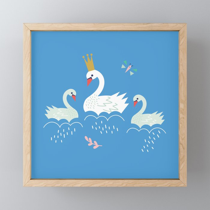 Swanning About Framed Mini Art Print