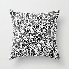 Bunnies & Skulls Throw Pillow