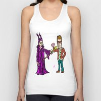 brad pitt Tank Tops featuring Brangelina Valentine!  Brad Pitt and Angelina Jolie as Tyler Durden (Fight Club) and Maleficent!  by beetoons
