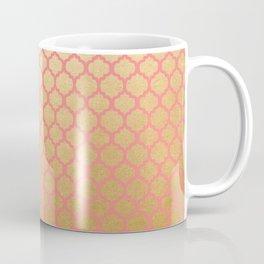 Chic modern coral faux gold quatrefoil pattern Coffee Mug