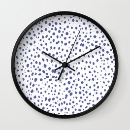 Dalmatian Blue Spots - Royal Blue Polka Dots Wall Clock