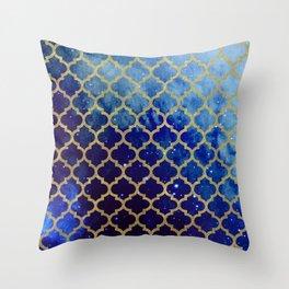 Moroccan magic blue watercolor Throw Pillow