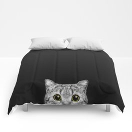 Curious Cat Peeking, Sneaky Kitty, Kitty Photography, Cat, Cats Comforters