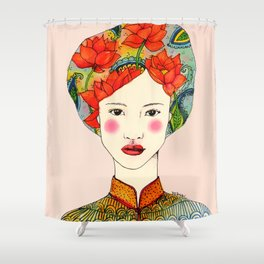 lotus girl Shower Curtain