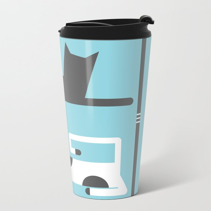 CATS IN LOVE BLUE (abstract animals) Metal Travel Mug