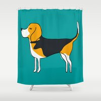 beagle Shower Curtains featuring Beagle by MaJoBV