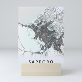 Sapporo, Japan, White, City, Map Mini Art Print