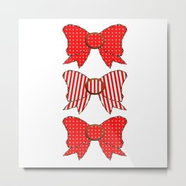Candy Cane Bows  Metal Print