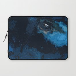Blue and black bird ink painting Laptop Sleeve