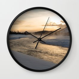 Yellowstone National Park - Sunrise along the Madison River Wall Clock