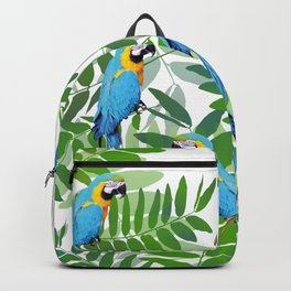 green Leaves with blue Makaw Birds Backpack