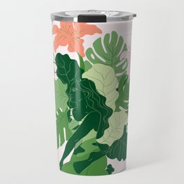 Bharadvaja's Twist with pink background Travel Mug