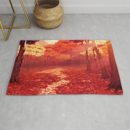 Lovely Forest Clearing At Gorgeous Dusk Cartoon Scenery Ultra High Resolution Rug