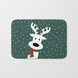 Reindeer in a snowy day (green) Bath Mat