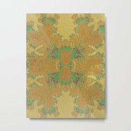 Golden Peacock Modern Abstract Pattern Metal Print