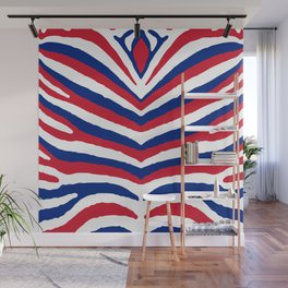 UK British Union Jack Red White and Blue Zebra Stripes Wall Mural
