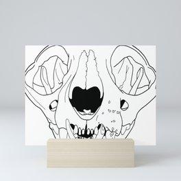 Old Cat Skull, transparent line art Mini Art Print