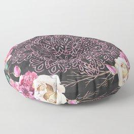 Mandala Night Rose Gold Garden Pink Black Yellow Floor Pillow