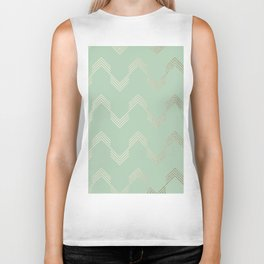 Simply Deconstructed Chevron in White Gold Sands and Pastel Cactus Green Biker Tank