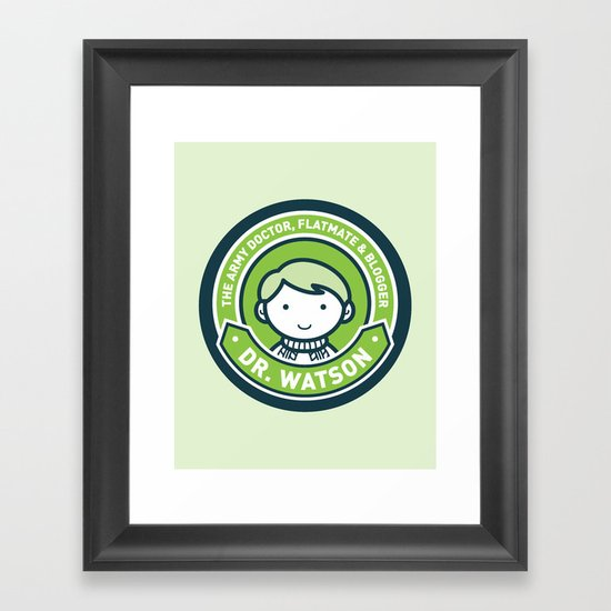 Cute John Watson - Green Framed Art Print