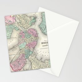 Vintage Map of Boston Harbor (1857) Stationery Cards