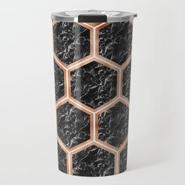 Black campari marble & copper honeycomb Travel Mug