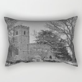 St Botolph's Church, Rugby Black and White Rectangular Pillow