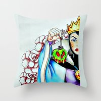 evil queen Throw Pillows featuring Evil Queen by Bernadette Woods