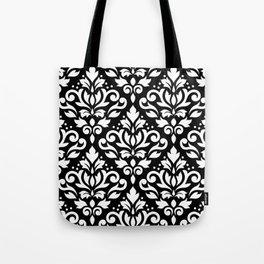 Scroll Damask Big Pattern White on Black Tote Bag