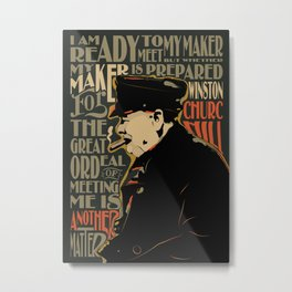 Winston Churchill Pop Art Quote Metal Print