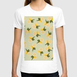 Yellow Citrus Lemon Fruit on Pale Lime Green T-shirt