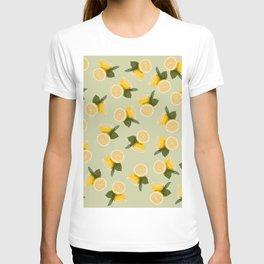 Yellow Citrus Lemon Fruit on Pale Lime Green T-shirt